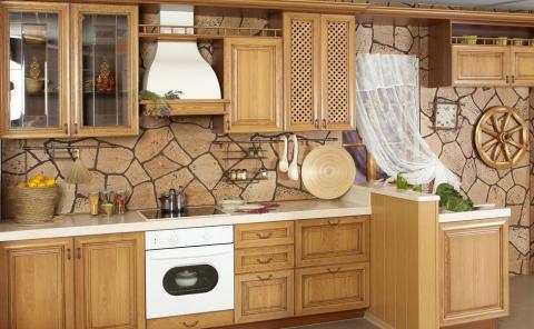 Пробка в интерьере кухни