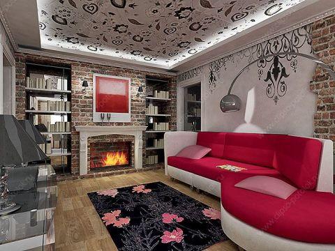 Роспись потолка в интерьере большой гостиной