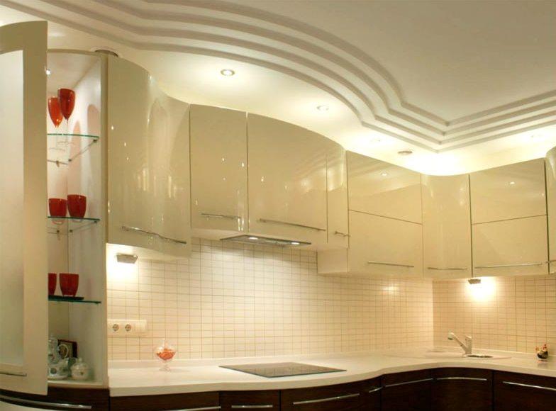 Дизайн потолка гипсокартона кухне