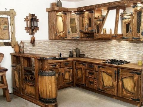 Теснение обои в стиле деревянной кухни