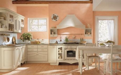 Цвет персика для стен кухни