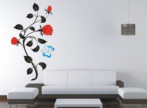 Виниловая наклейка в виде цветов для гостиной
