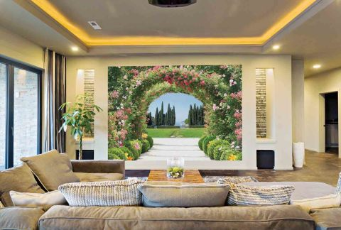 Прекрасное зонирование в гостиной