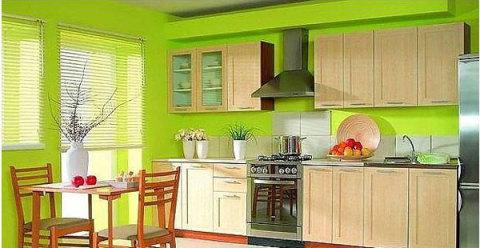 Салатовый в отделке стен кухни