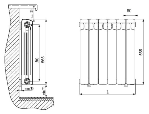 Схема размещения радиатора: расстояние от стены до радиатора отопления – 30 мм