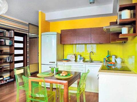 Стены желтые цвет кухни прекрасно подойдет для качественно освещенного помещения