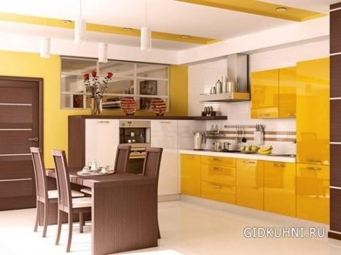 Желтая гамма в кухне