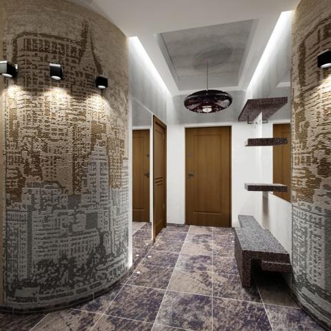 Ретро исполнение с использованием обоев для стен и керамической плитки в светлых тонах