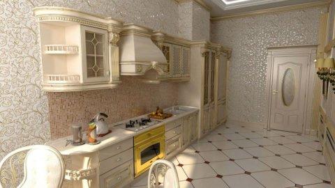 Стандартное воплощение классического направления в кухонном интерьере