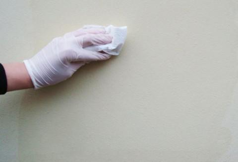 Стены протирают влажной тканью для удаления пыли.