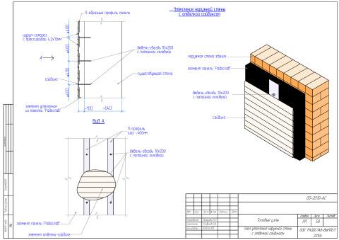 Устройство теплоизоляции с наружной отделкой в типовом проекте
