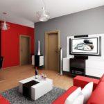 Два контрастных цвета для стен гостиной