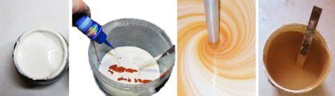 Этапы колерования белой акриловой краски с помощью специального пигмента
