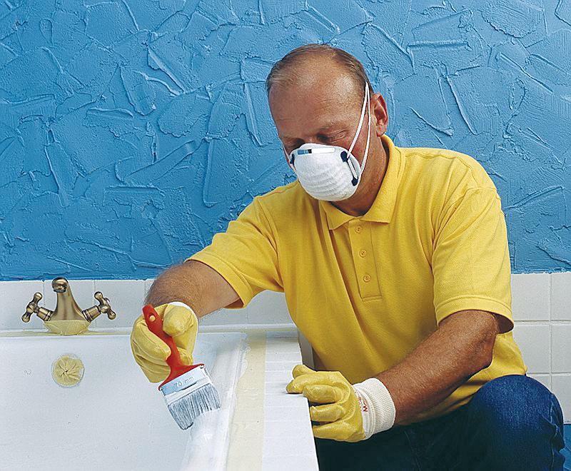 Покраска в ванной комнате в ванной своими руками 32