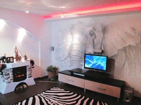 Роспись стен гостиной акриловой краской