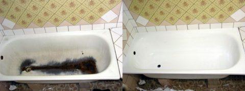 Выполнение реставрации старой ванны: эффект до и после