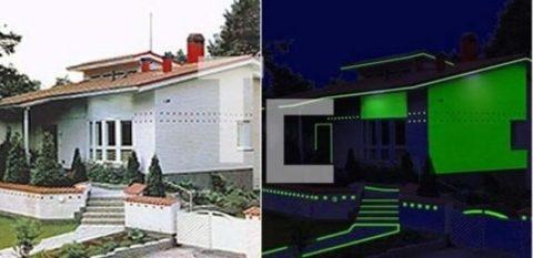 Фасад кафе днем и ночью