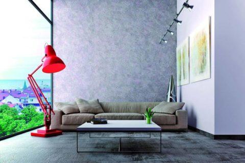 Декоративная штукатурка в качестве покрытия акцентной стены в интерьере гостиной