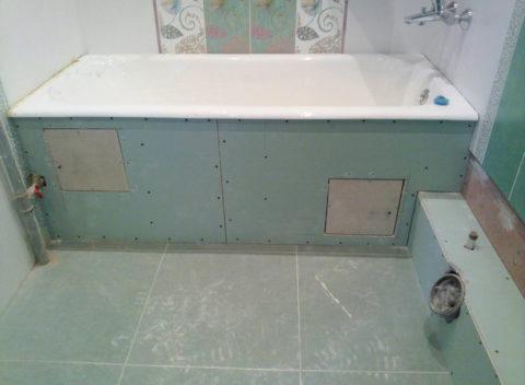 ГКЛВ использован при отделке ванной комнаты