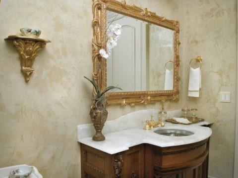 Силиконовая декоративная штукатурка в ванной комнате