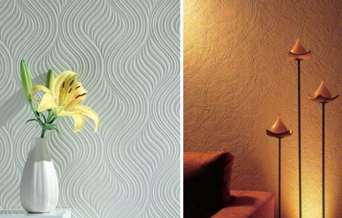В отличие от краски, фактурные обои могут скрыть небольшие неровности стен