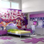 Для спортсменки подойдут динамичные яркие фотообои с граффити