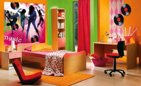 Фотообои в комнате девочки старшего школьного возраста