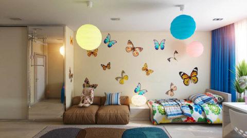 Обои детские бумажные с яркими бабочками