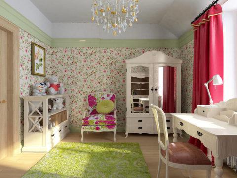 Обои дуплекс бумажные – стиль «Прованс» для комнаты юной леди