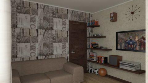 Теплый серый цвет в оформлении комнаты мальчика-подростка