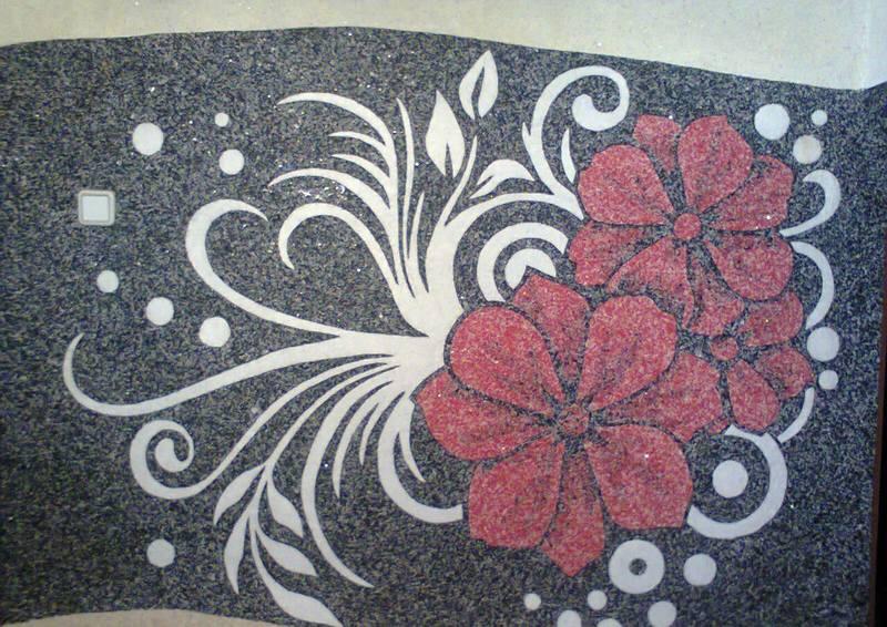 Рисунок цветка на жидких обоев