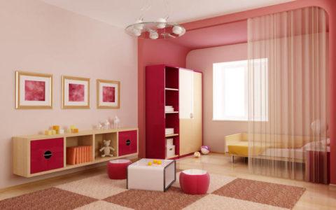 Зонирование пространства при помощи цвета и занавески