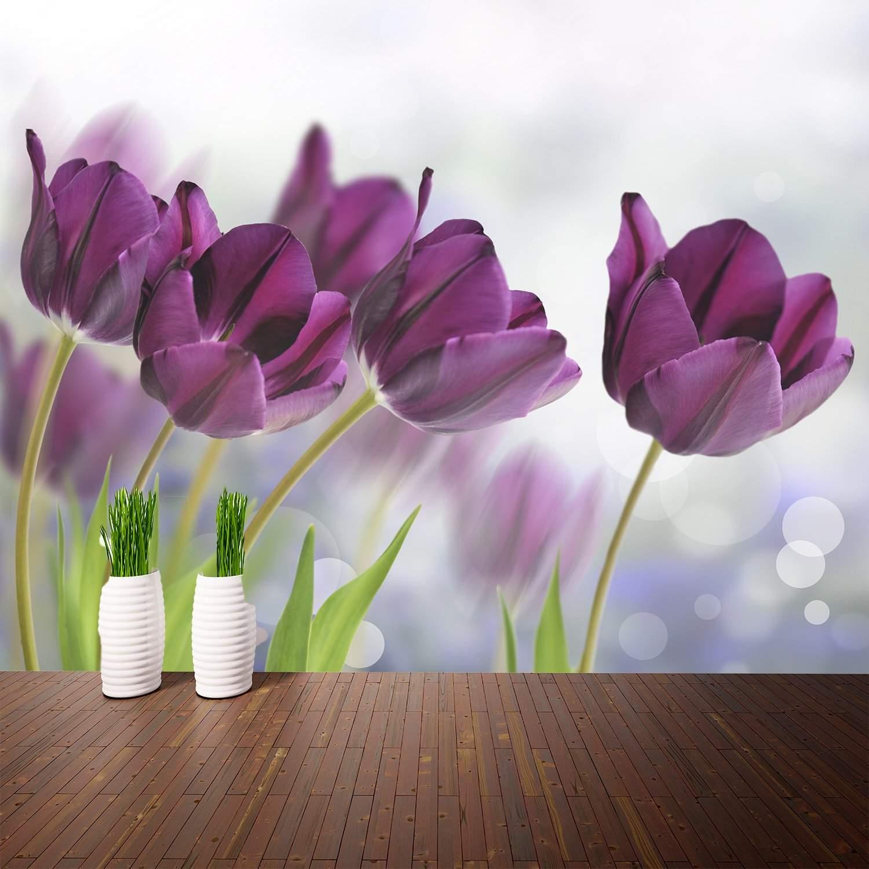 теме создаём тюльпаны сиреневые фотообои полететь без
