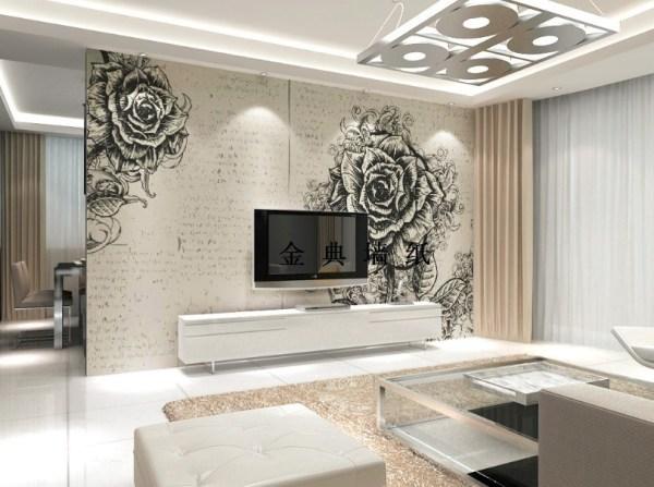 Чёрно-белые фотообои с розами, в интерьере гостиной