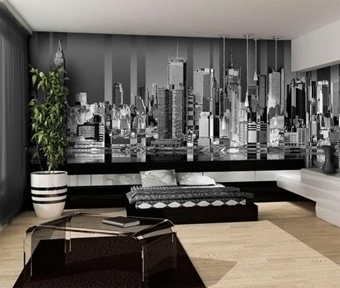 готовые черно белые фотообои с городом для кухни