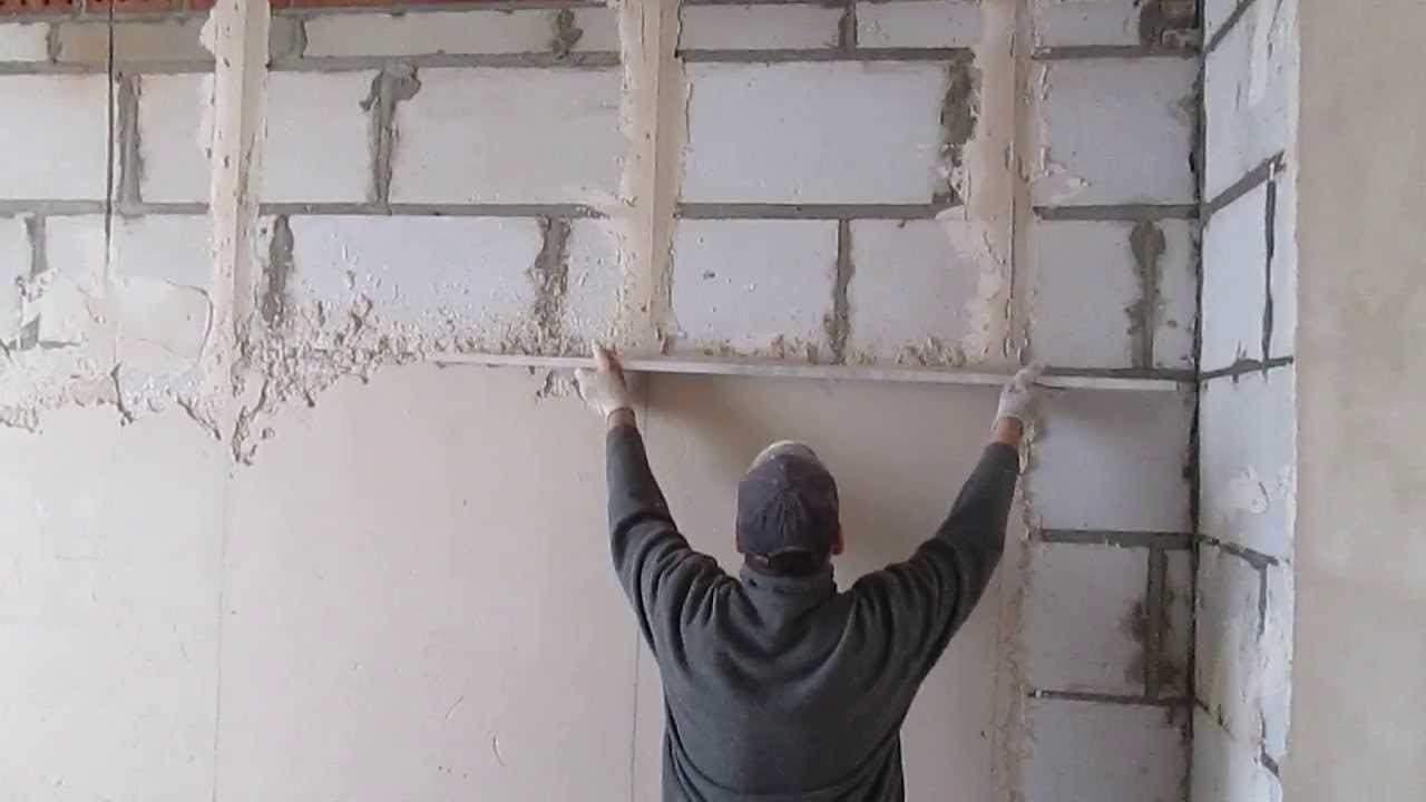 штукатурка стен цементным раствором своими руками видео по маякам