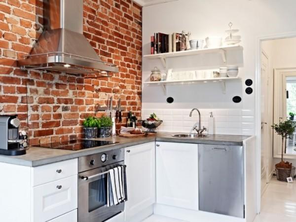 Кирпичная стена на кухне, как дизайнерский приём украшения интерьера