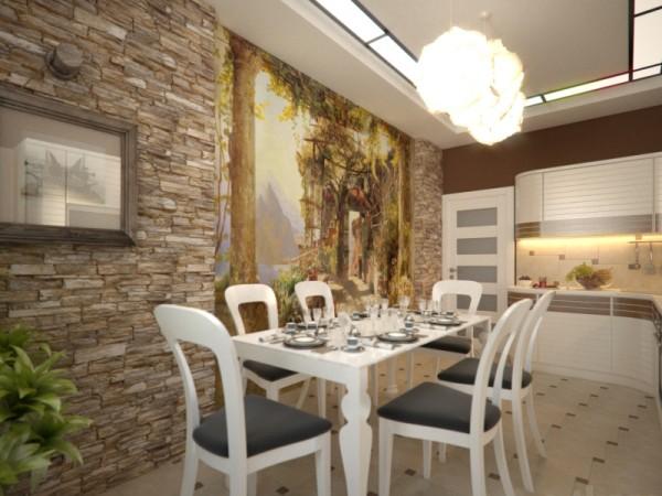 На фото, декор стен на кухне каменной кладкой и фотообоями