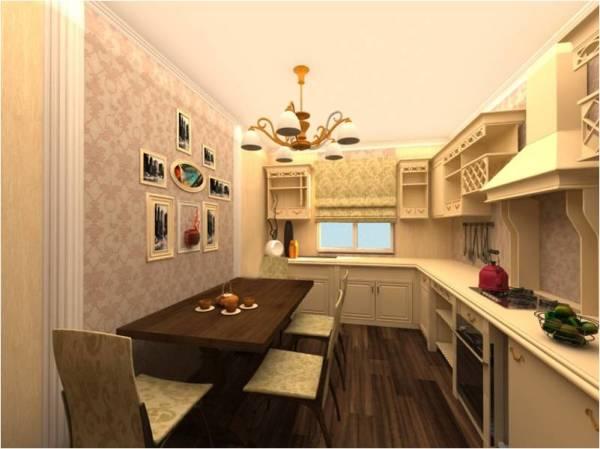 Пример, как можно декорировать стены на кухне в классическом стиле