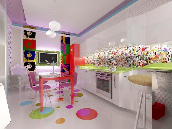 Пример кухни оформленной в ультрасовременном стиле – поп-арт