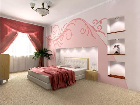 Два цвета в оформлении спальни