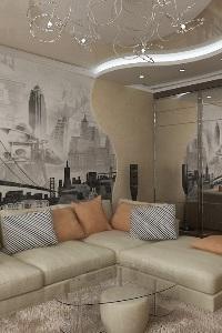 Сочетание гипсокартона, обоев и покраски стен
