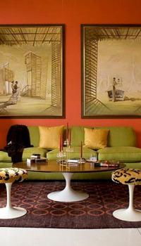 Теплый оранжевый цвет гостиной