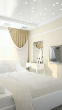 Успокаивающий интерьер спальни со светлой мебелью