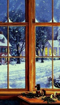 Вид из окна на зимний город