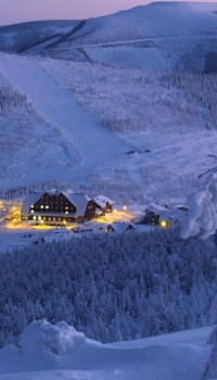 Вид на затерянное в снегу селенье