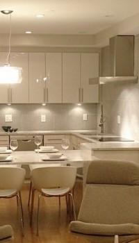 Используем свет для зонирование кухни