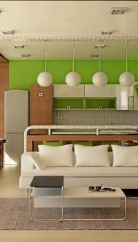 Оформление кухонной стены при помощи цветовых решений