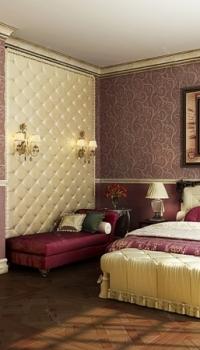 Комбинация из двух видов обоев для спальни
