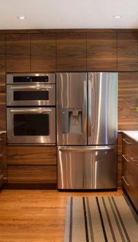 Отделка кухни деревянными панелями